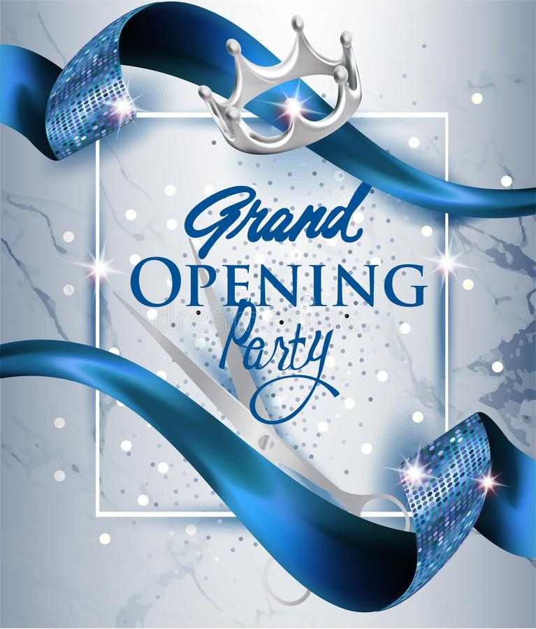 Elegant grand opening invitation card with blue textured curled blue ribbon and marble background. royalty free illustration