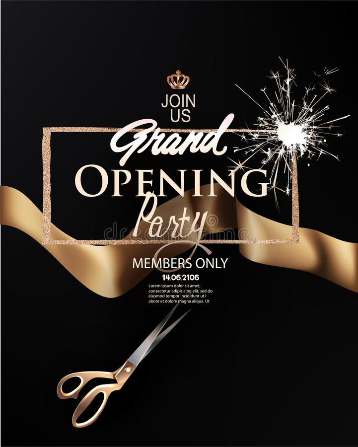 Elegant grand opening invitation card with gold ribbon and frame. royalty free illustration