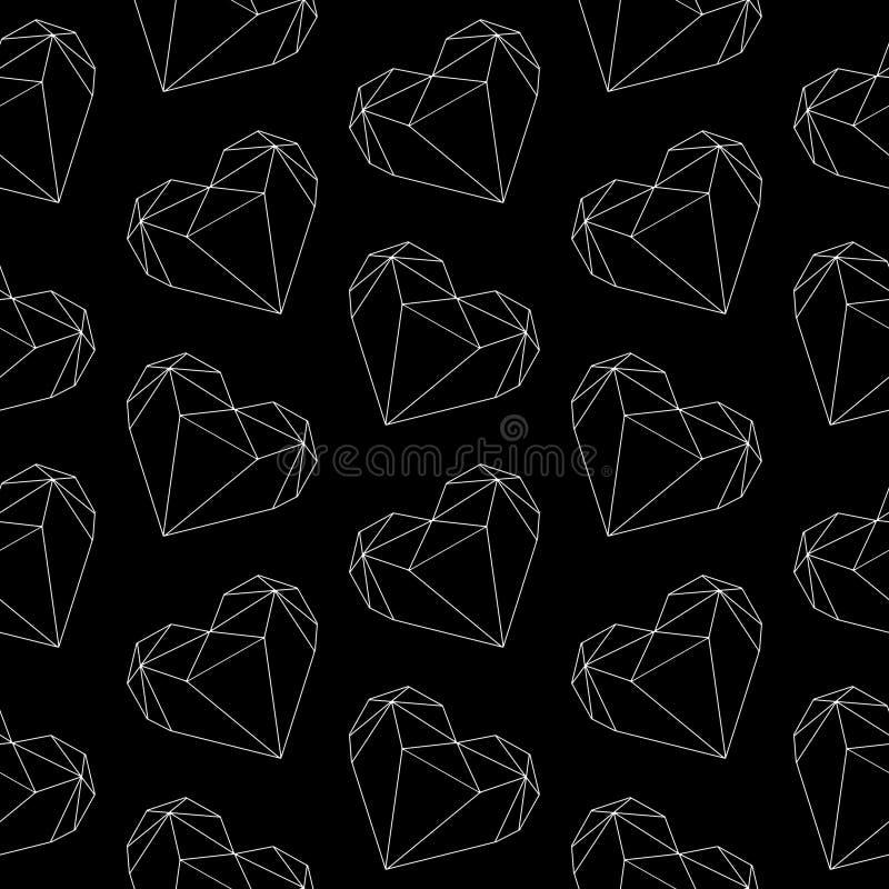 Elegant graphic illustration polygonal diamond shape heart outlines seamless pattern on darl black background vector illustration