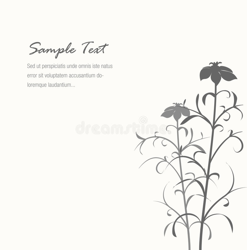 Elegant Gray Flower Background With Sample Text Stock Photo