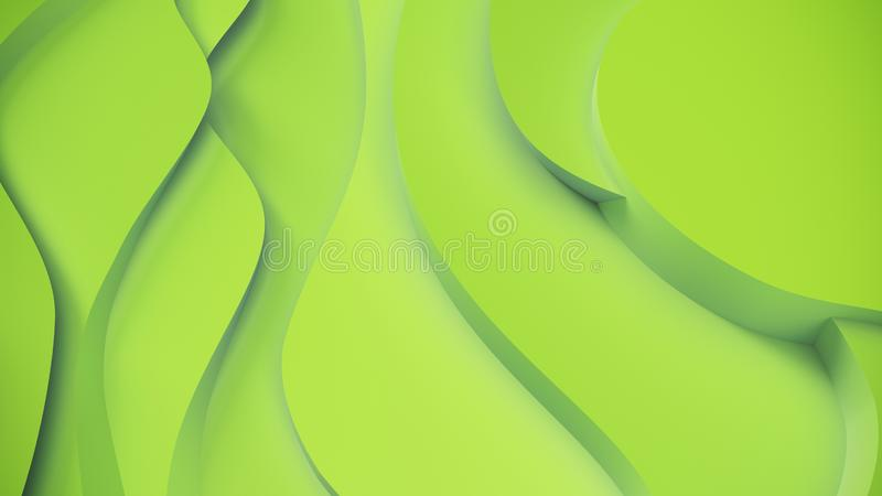 Elegant green relief. Abstract topographical background. Beautiful fluid design. chaotic ribbons create white flow. 3d stock illustration