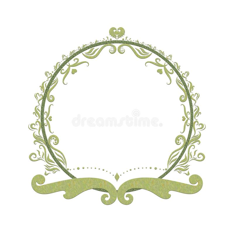 Elegant Green round frame, painted lines with swirls.  vector illustration