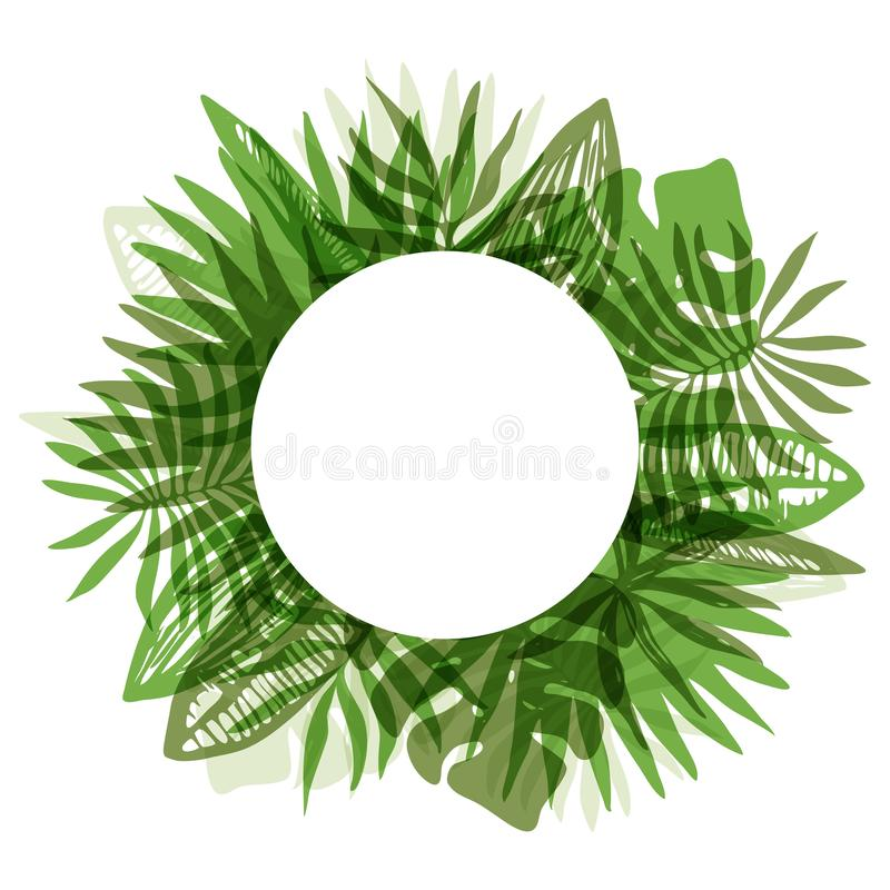 Elegant green round frame of tropical leaves. Fresh green color round frame with overlapping mess of hand drawn tropical leaves. Trendy rounded exotic greenery royalty free illustration