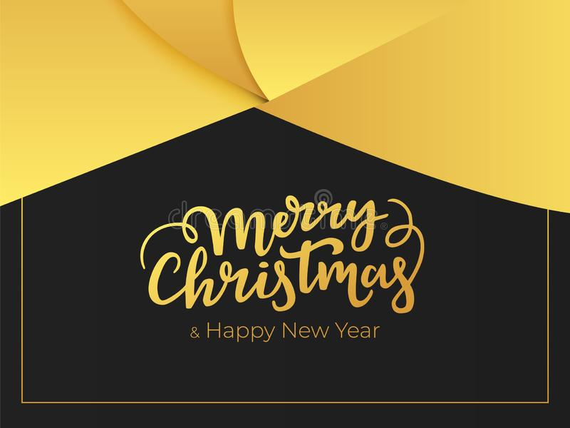 Elegant greeting card design for winter holidays. Merry Christmas and happy New Year lettering with abstract background of a golde. N foil royalty free illustration