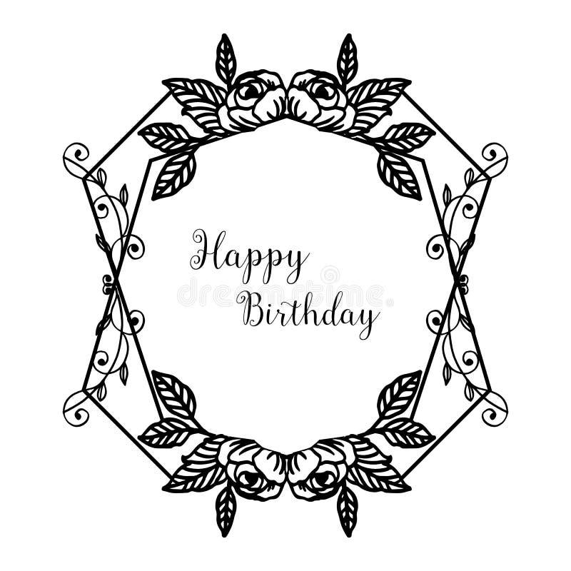 Elegant greeting card, invitation card happy birthday, texture silhouette, pattern wreath frame. Vector royalty free illustration
