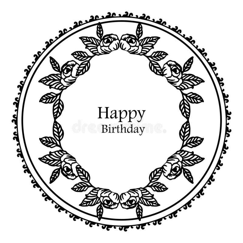 Elegant greeting card, invitation card happy birthday, texture silhouette, pattern wreath frame. Vector vector illustration