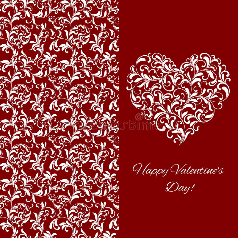 Elegant greeting postcard for Valentine`s Day. Heart from floral ornament vector illustration
