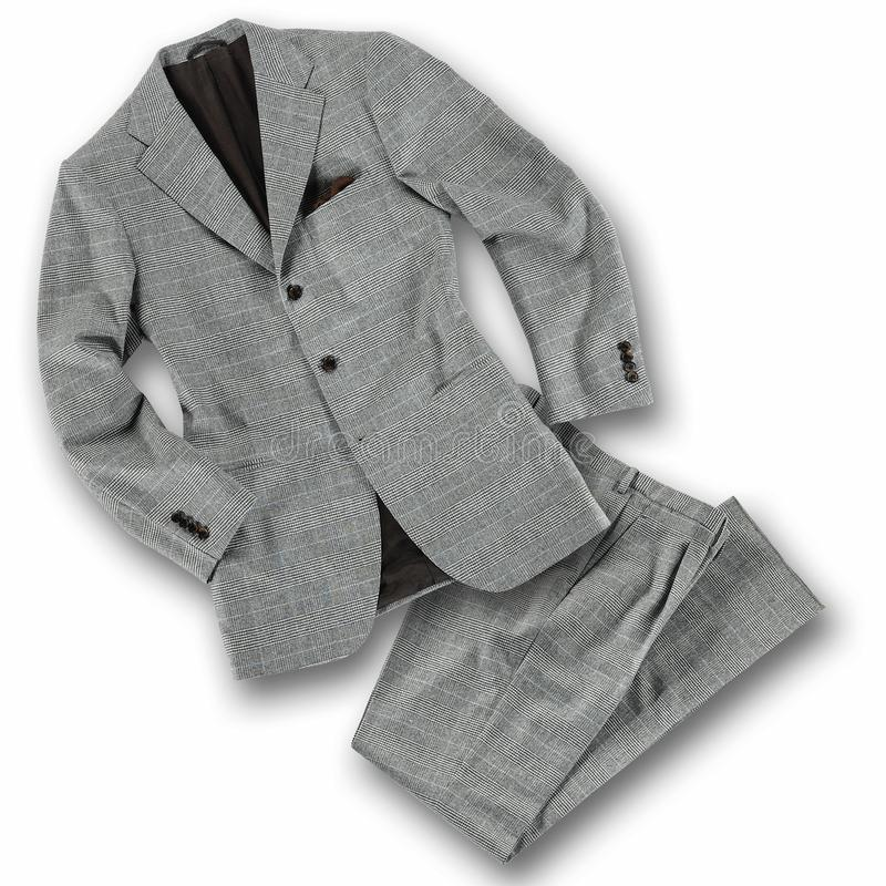 Elegant grey tailored suit on white royalty free stock image