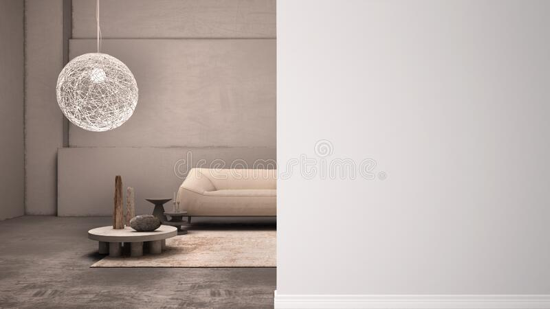 Elegant grunge living room with plaster walls and floor, lamp, sofa, carpet, on a foreground wall, interior design architecture. Idea, concept with copy space stock illustration