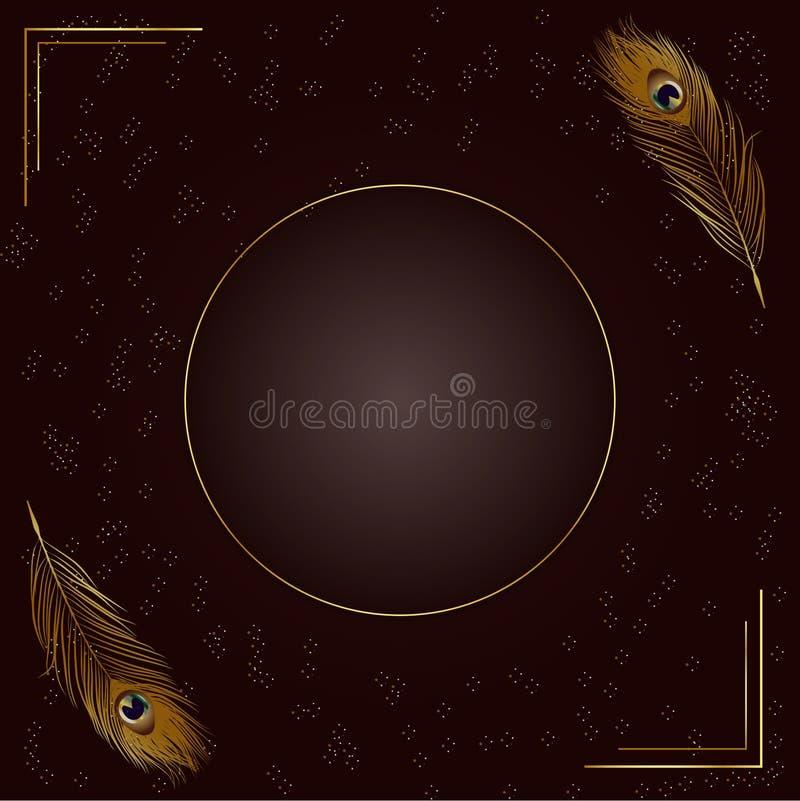 Elegant guld- fjäderbakgrund med ramen royaltyfri illustrationer