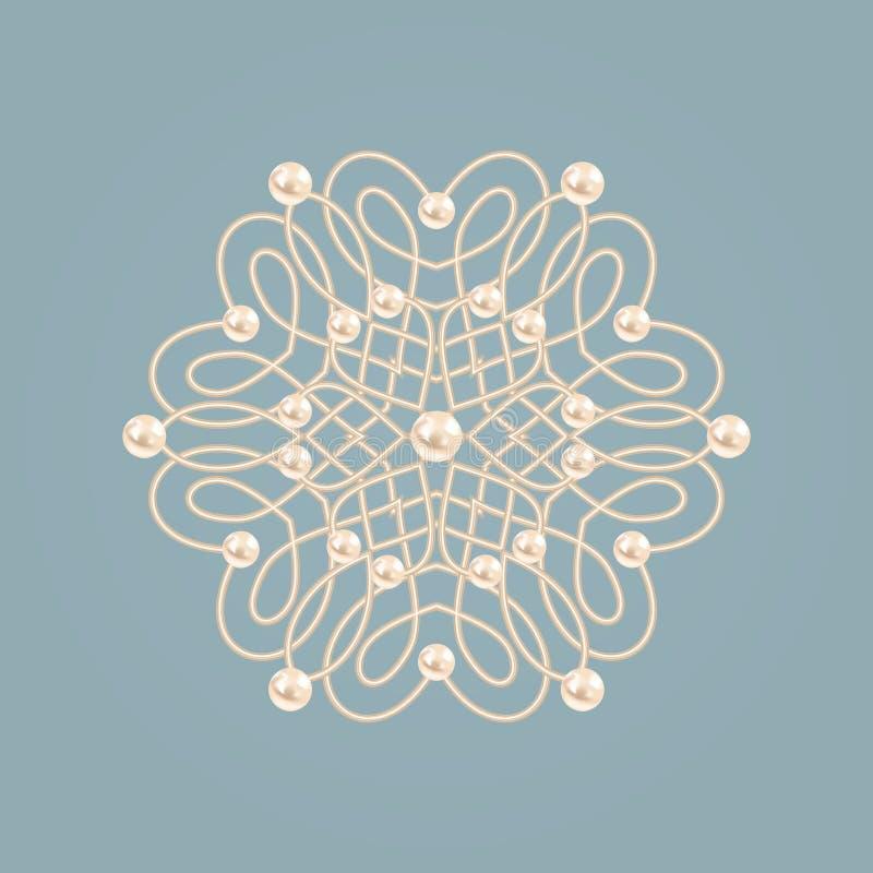 Elegant guld- fnurentecken Elegant guld- blom- tecken Blå och beige pastellfärgad illustration, härlig blomma med pärlor stock illustrationer