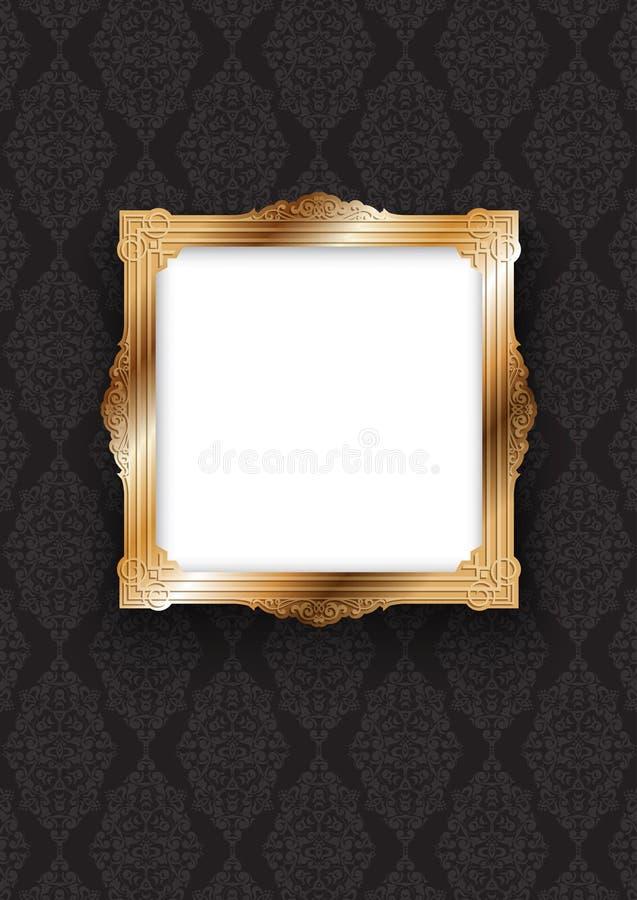 Elegant guld- ram på den dekorativa tapeten vektor illustrationer