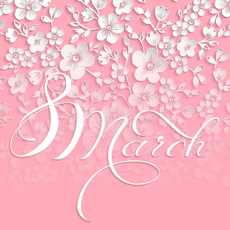 elegant hälsning för kort 8 för kvinna` s för mars internationell dag vektor illustrationer