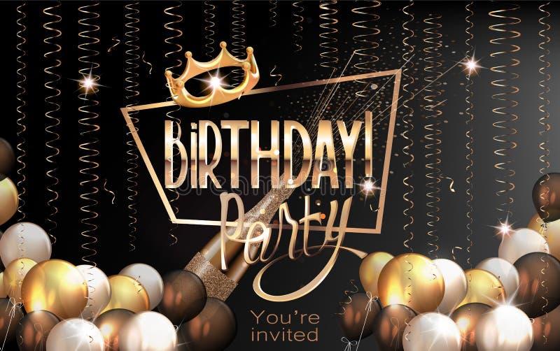 Elegant hälsningkort för födelsedag med luftballonger, den slingrande guld- ramen och kronan royaltyfri illustrationer