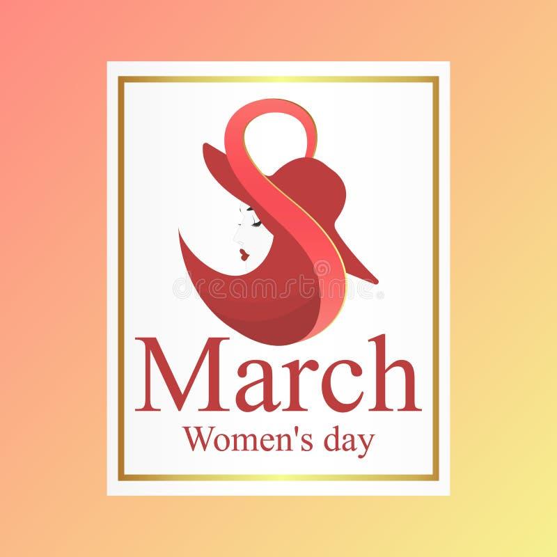 Elegant hälsningkort för internationell dag för kvinna` s vektor illustrationer