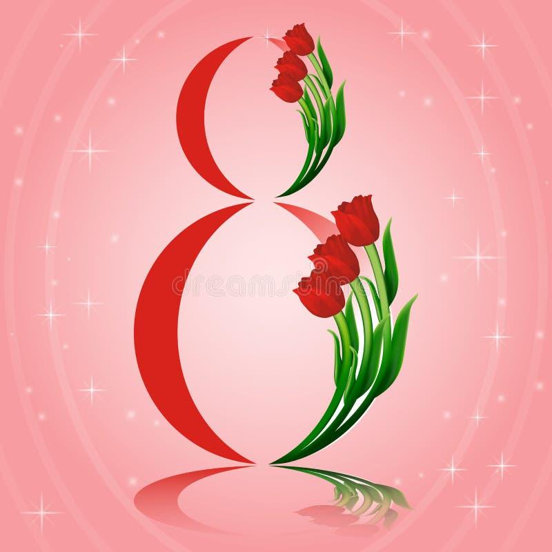 Elegant hälsningkortdesign med tulpan för internationell dag för kvinnor s 8 vykortbegrepp för marsch med att glöda magiskt royaltyfri illustrationer