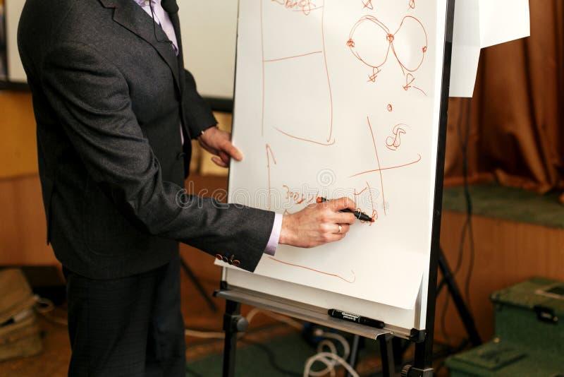 Elegant högtalareföreläsare som drar finansiella diagram på det vita brädet arkivbild