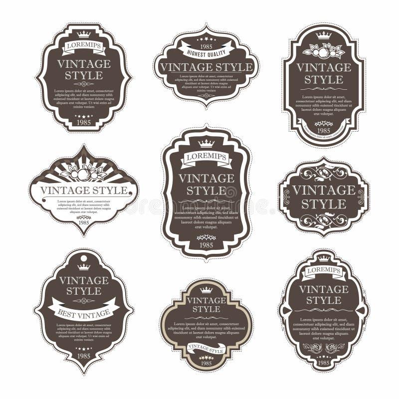 Elegant högvärdig samling för etikettuppsättning stock illustrationer