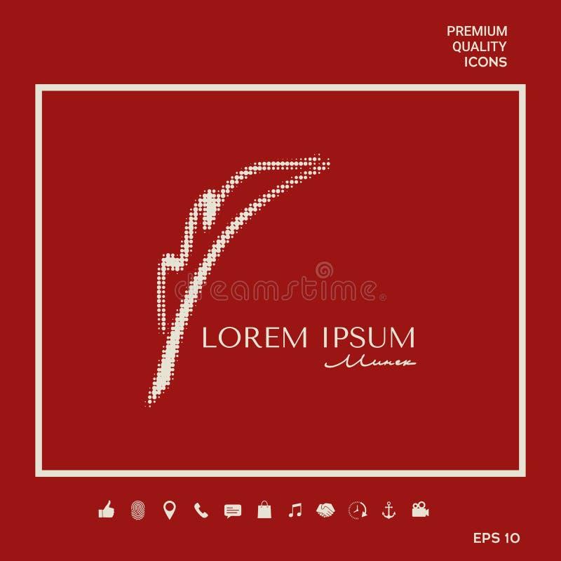 Elegant halftone embleem met Vulpen stock illustratie
