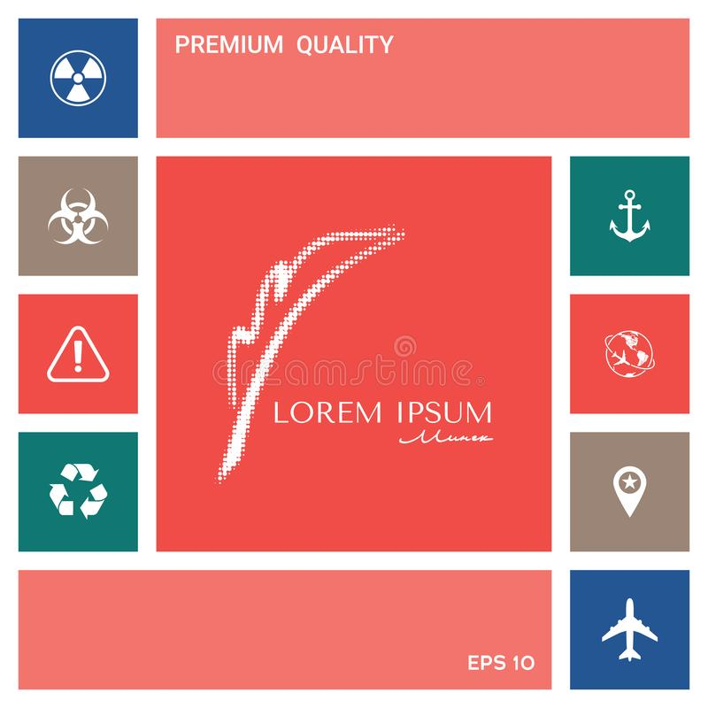 Elegant halftone embleem met Vulpen Elementen voor uw ontwerp stock illustratie