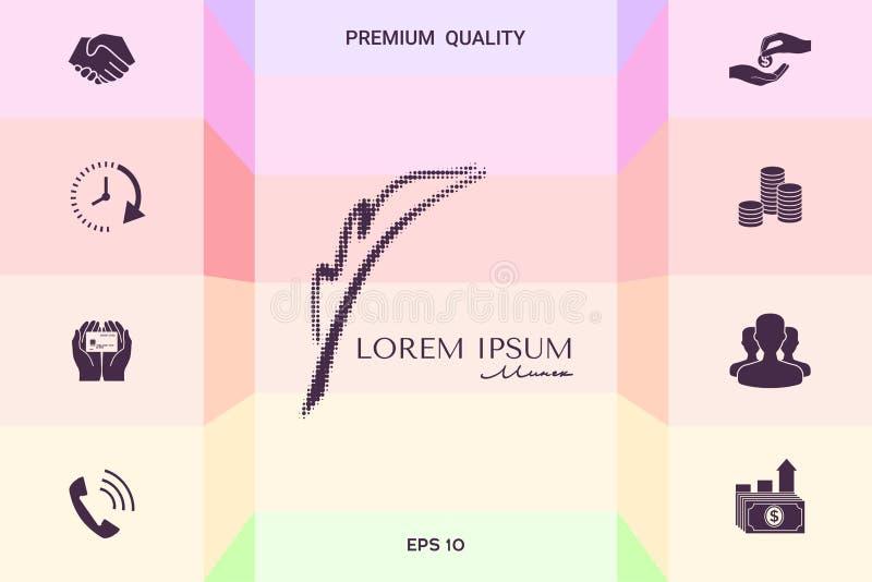 Elegant halftone embleem met Vulpen Grafische elementen voor uw ontwerp royalty-vrije illustratie