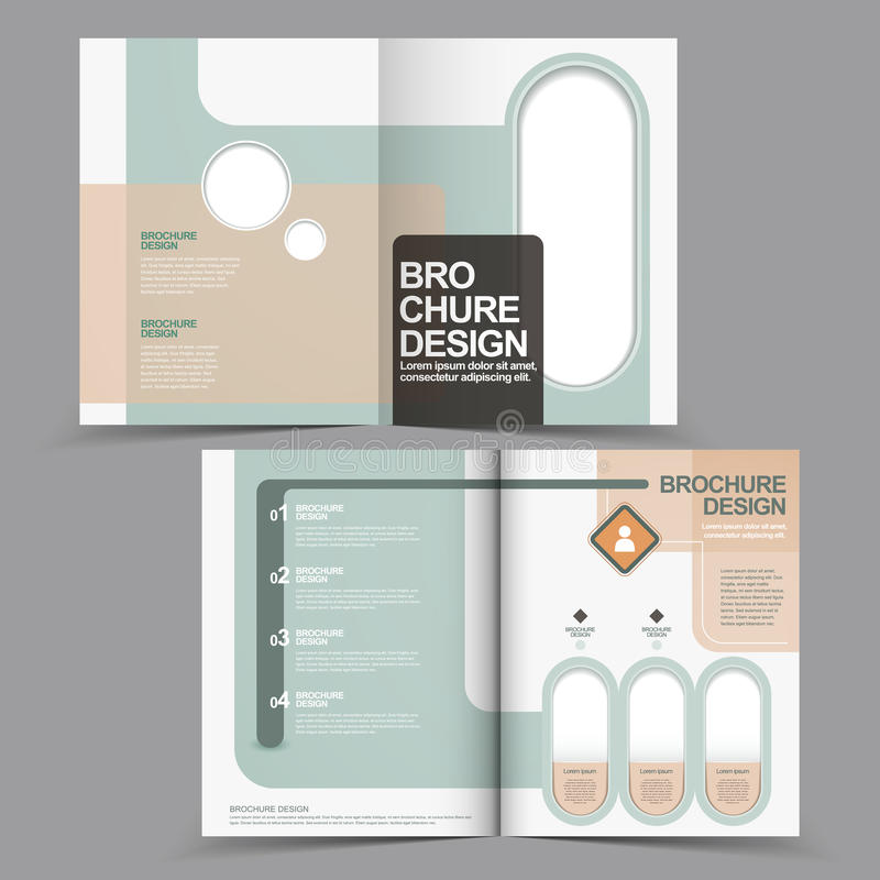 Elegant halva-veck broschyrdesign med den geometriska beståndsdelen stock illustrationer