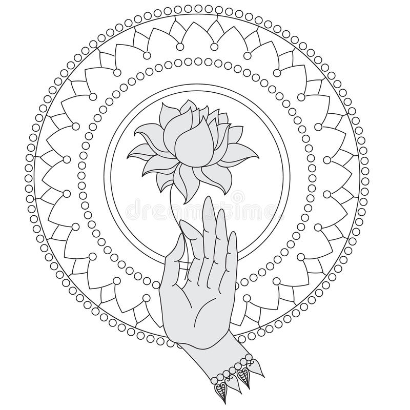 Elegant hand dragen Buddhahand med blomman Isolerade symboler av Mudra Beautifully specificerat, fridfullt dekorativ elementtappn stock illustrationer