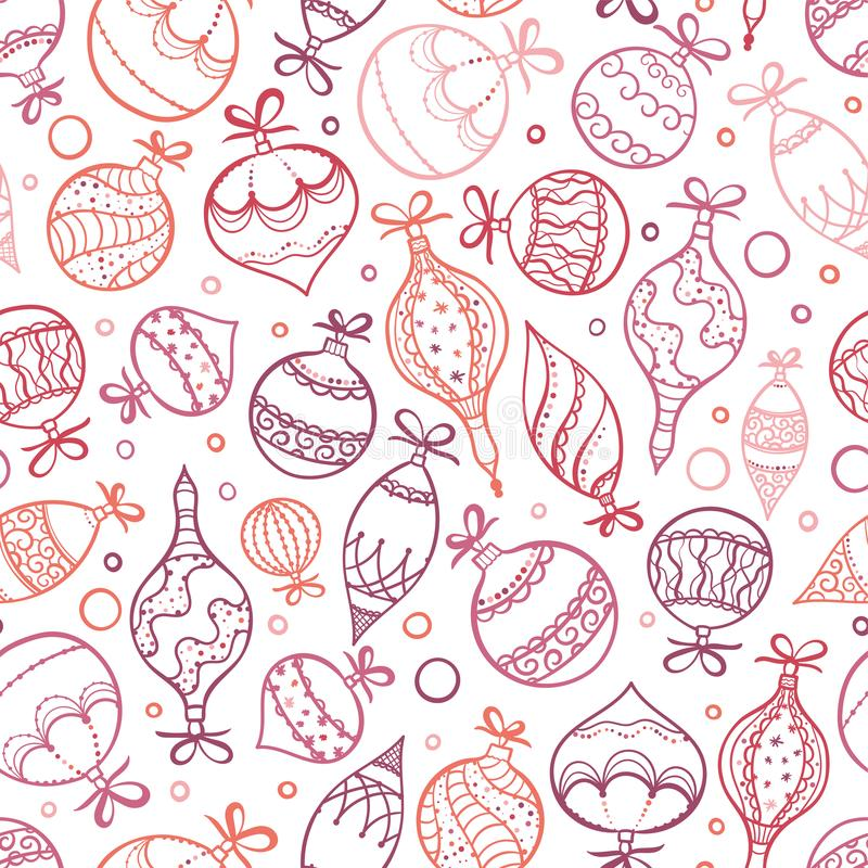 Elegant hand drawn christmas ornaments seamless pattern, decorated baubles hanging, great for christmas wrapping, banners, royalty free illustration