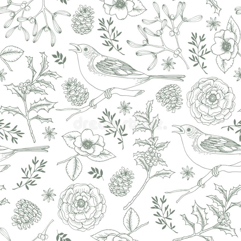 Elegant hand drawn Christmas seamless pattern with birds, holly berries, mistletoe, roses and pine cones. Winter vintage stock illustration