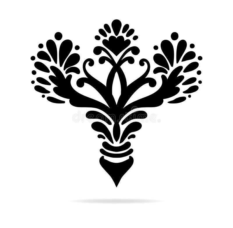 Elegant hand drawn fleur de lis symbols in ornate stylized design element stock photos