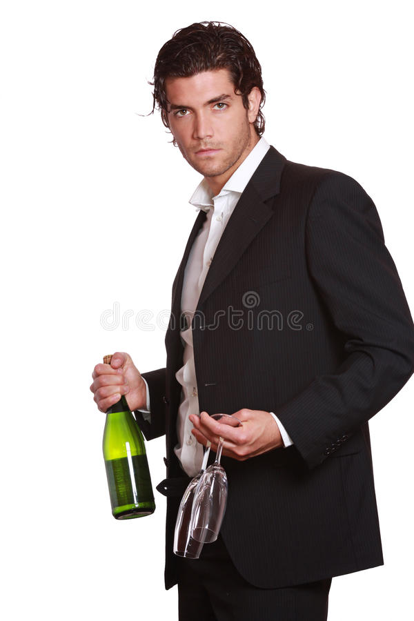 Download Elegant Handsome Man With Wine Bottle Stock Photo - Image: 25128426