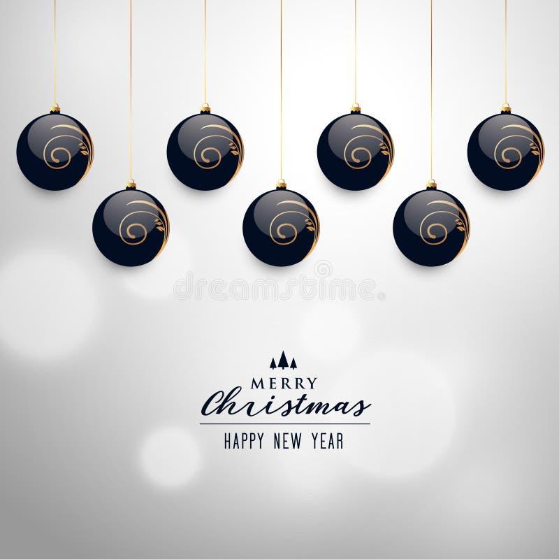 Elegant hanging christmas balls vector background royalty free illustration