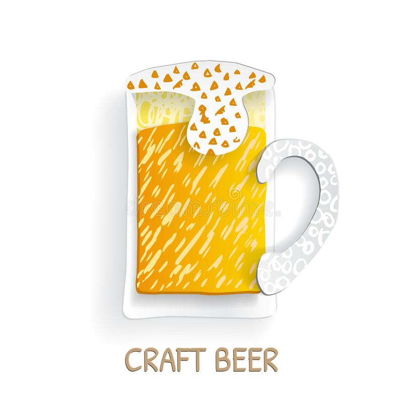 Elegant hantverkölexponeringsglas i plant papper som klipps för lager, bärnstensfärgad öl och kraftigt stock illustrationer