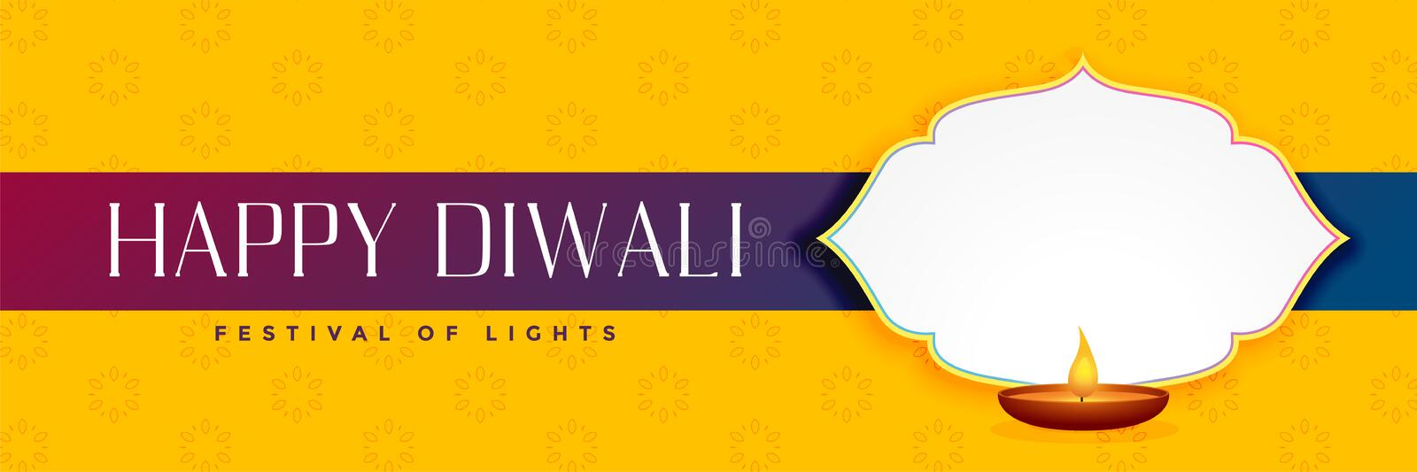 Elegant happy diwali yellow banner with text space stock illustration