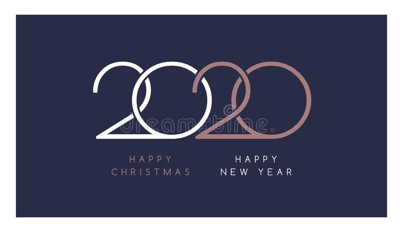 Elegant 2020 Happy New Year and Happy Christmas text in white and rose gold colors on dark blue background - vector template royalty free illustration