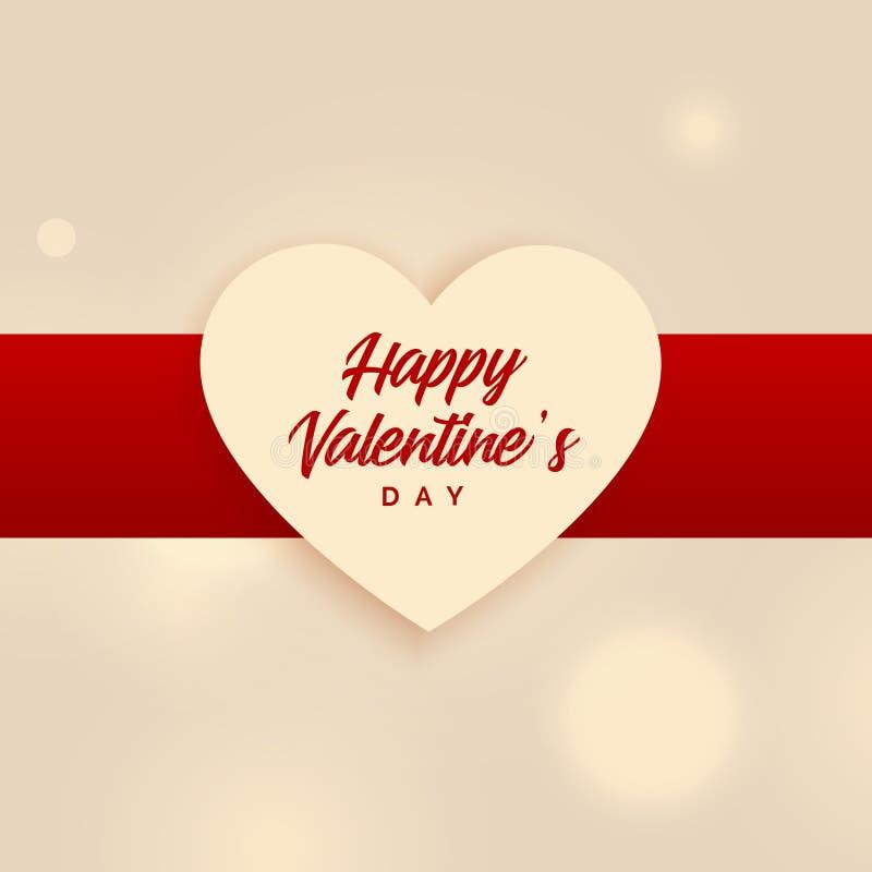 Elegant happy valentine`s day heart vector background stock illustration