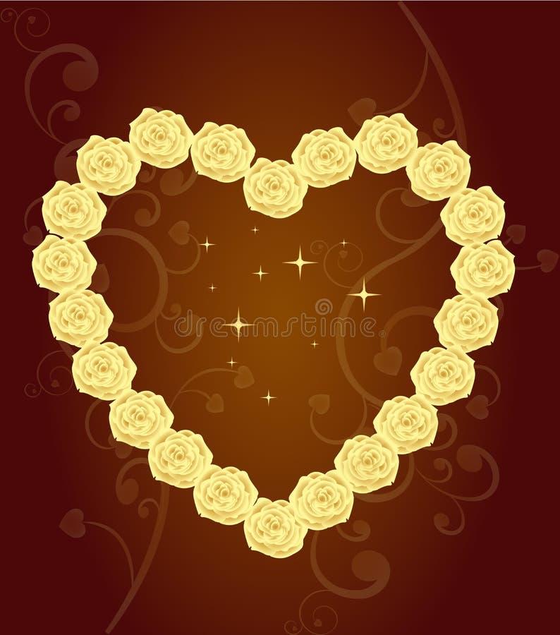Elegant Hart van gouden rozen royalty-vrije illustratie