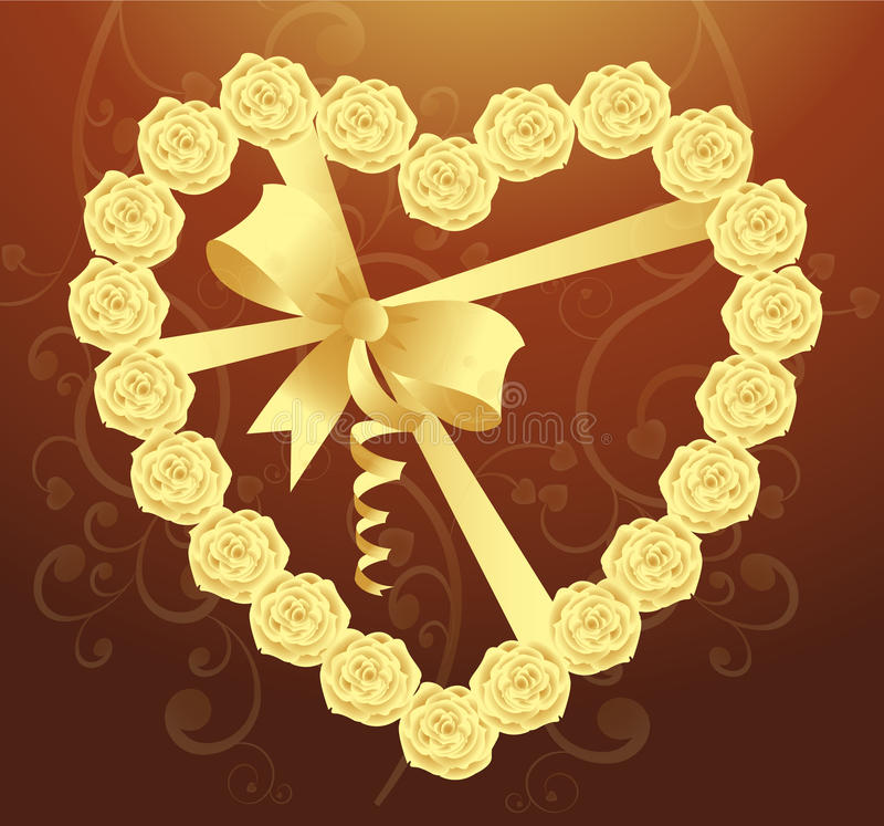 Download Elegant Heart Of Roses And Ribbon Stock Illustration - Illustration of gift, flower: 16580744