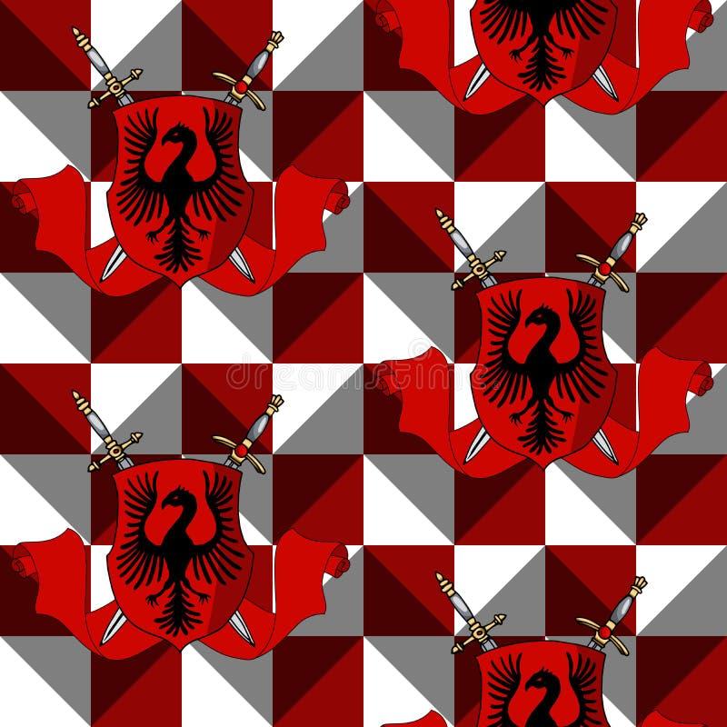 Elegant heraldisk sköld med svärd, band på röd och vit prydnadbakgrund royaltyfri illustrationer