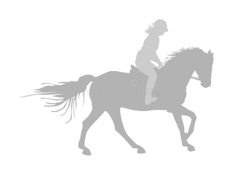 Elegant het rennen paard in galop vectordiesilhouet op witte achtergrond wordt geïsoleerd Jockeydame het berijden paard Renbaansp stock illustratie