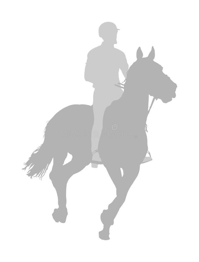 Elegant het rennen paard in illustratie van het galop de vectordiesilhouet op witte achtergrond wordt geïsoleerd Jockey het berij vector illustratie
