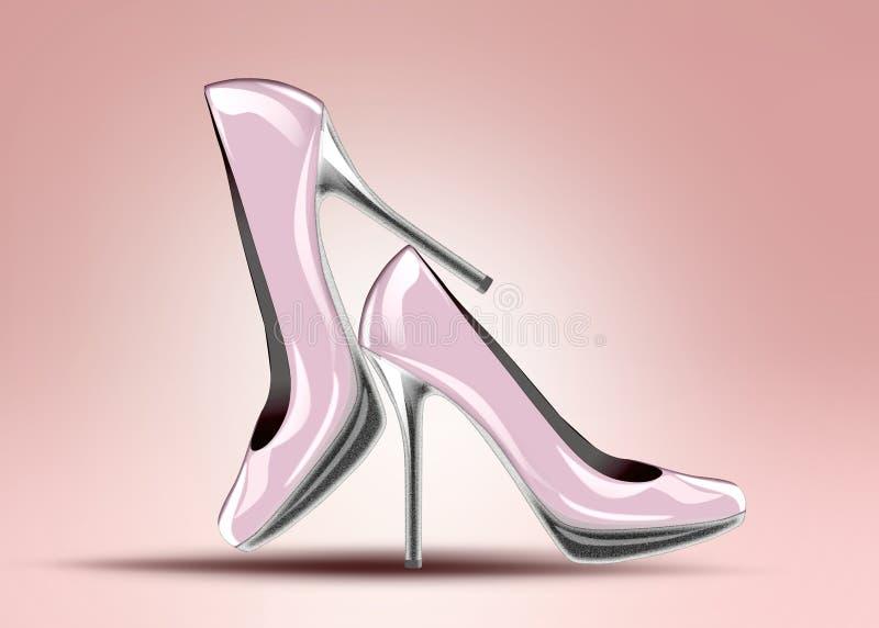 Elegant high heel shoes. Elegant pink high heel shoes vector illustration