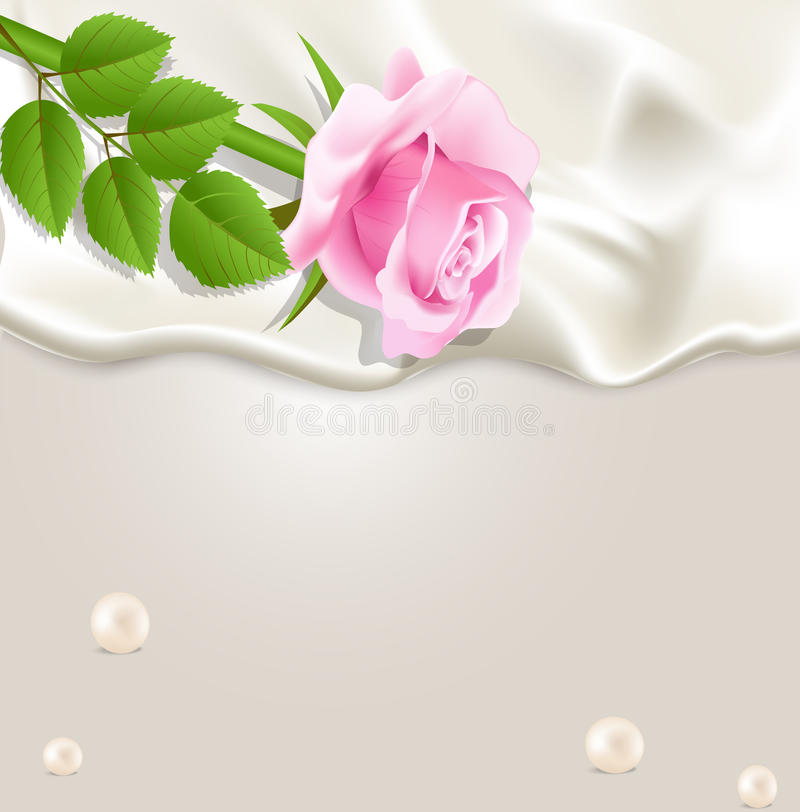 Elegant holiday background with silk, pearls r. Elegant holiday background with silk, pearls and a pink rose vector illustration