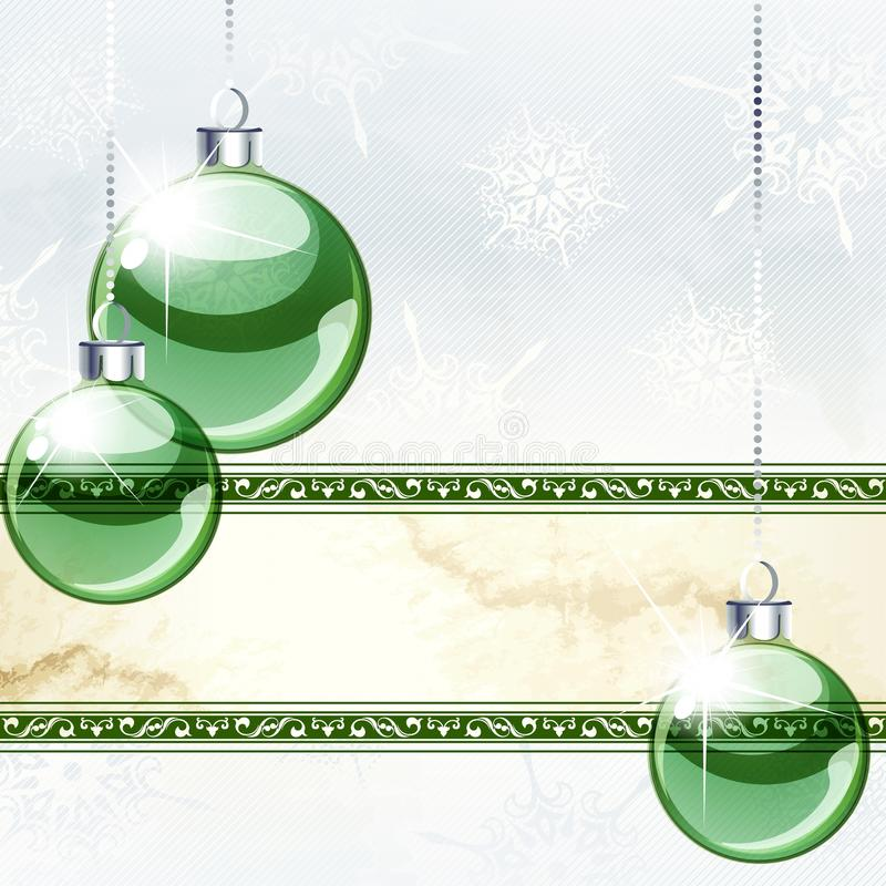 Elegant Holiday Banner With Transparent Ornaments Royalty Free Stock Image