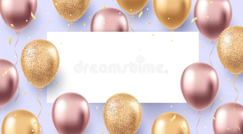 Elegant holiday design with realistic flying balloons. Party, celebration, festival background. stock illustration