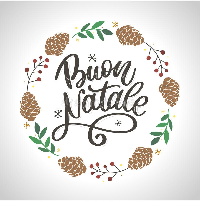 Buon Natale. Merry Christmas Calligraphy Template in Italian. Greeting Card Black Typography on White Background. Vector royalty free illustration