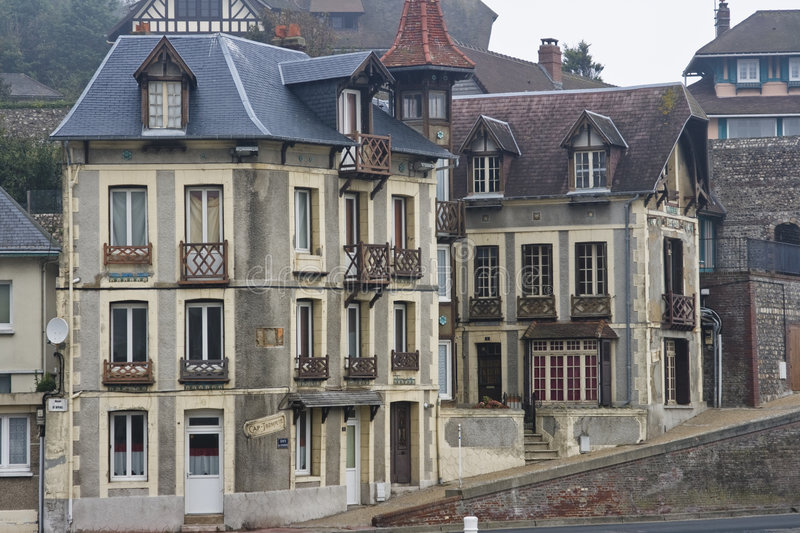 Elegant homes of Fecamp France in Normandy stock photo