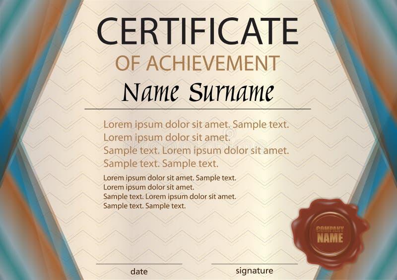 Elegant horizontaal certificaat of diplomamalplaatje met wasverbinding royalty-vrije illustratie