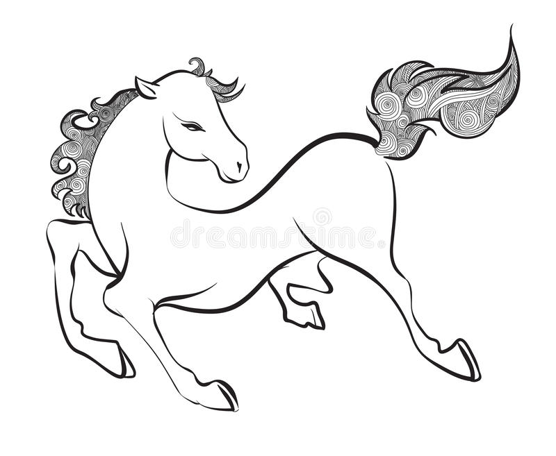 Elegant horse done in a minimal style.  royalty free illustration