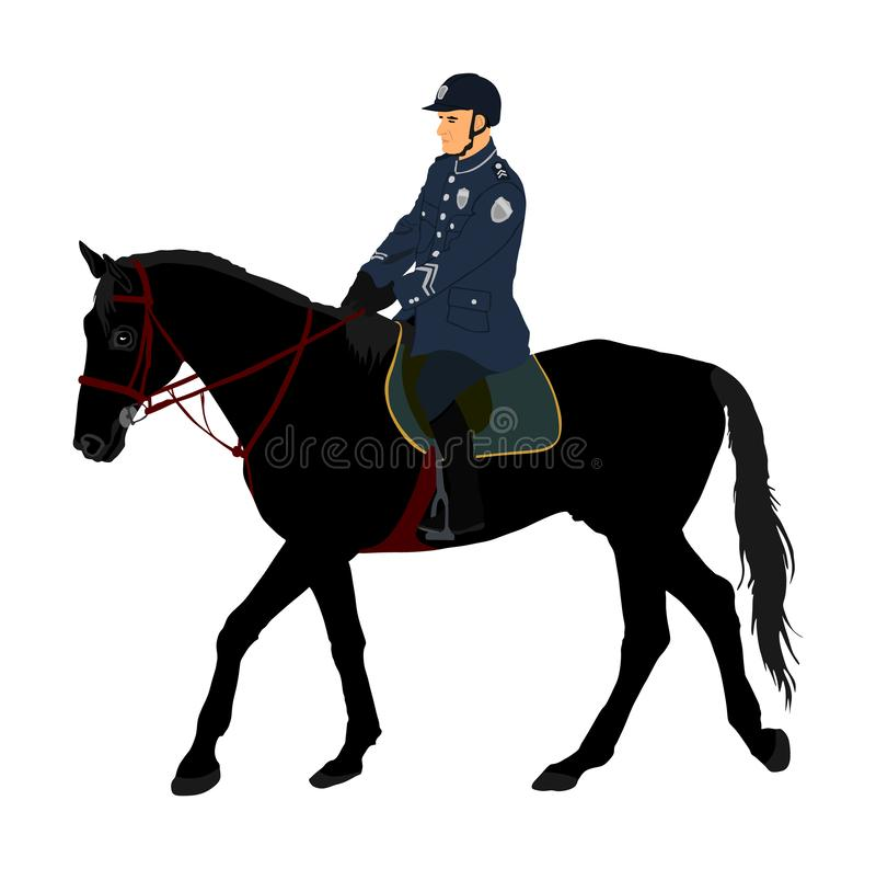 Elegant horse with jockey vector illustration isolated on white background. Police man riding horse. Hippodrome sport event. Police mounted officer for crowd royalty free illustration